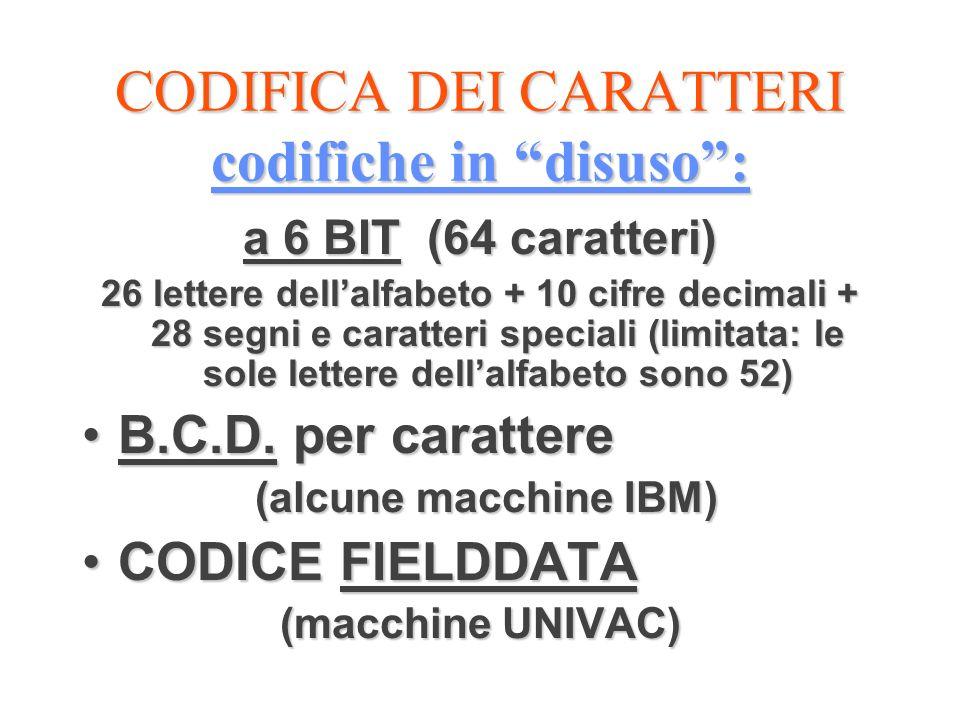 CODIFICA DEI CARATTERI codifiche in disuso :