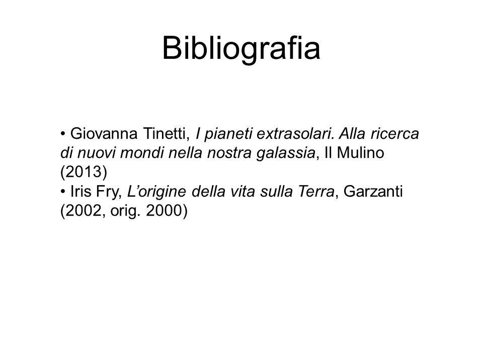 Bibliografia Giovanna Tinetti, I pianeti extrasolari. Alla ricerca di nuovi mondi nella nostra galassia, Il Mulino (2013)