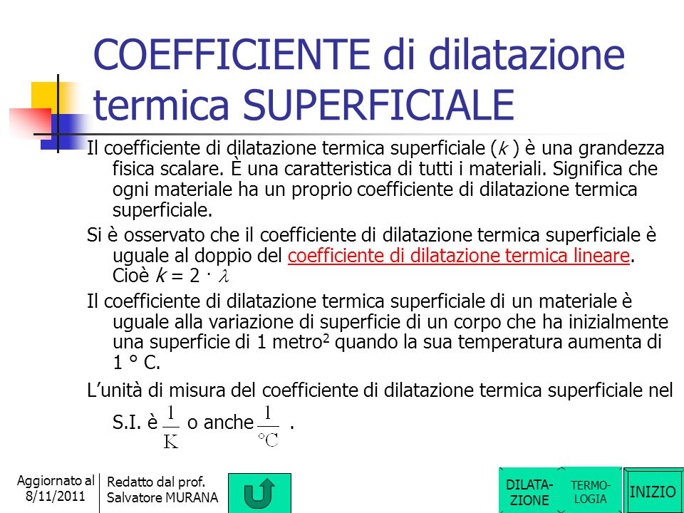 COEFFICIENTE di dilatazione termica SUPERFICIALE