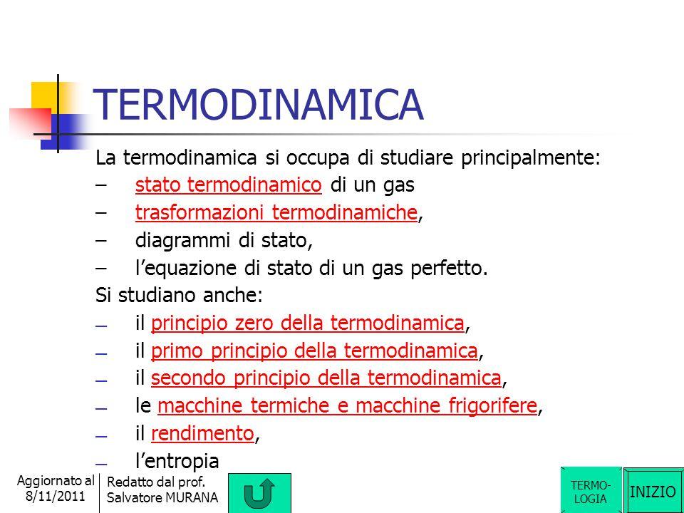 TERMODINAMICA La termodinamica si occupa di studiare principalmente: