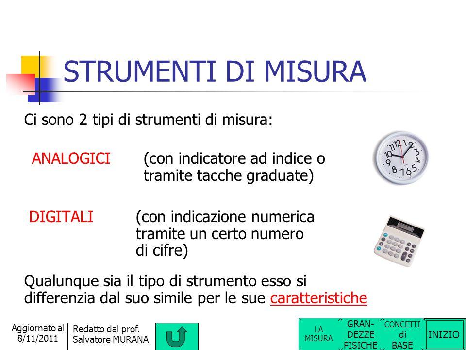 STRUMENTI DI MISURA Ci sono 2 tipi di strumenti di misura: