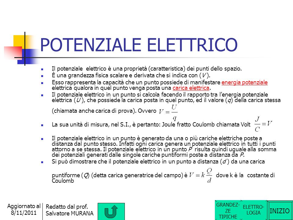 POTENZIALE ELETTRICO Il potenziale elettrico è una proprietà (caratteristica) dei punti dello spazio.