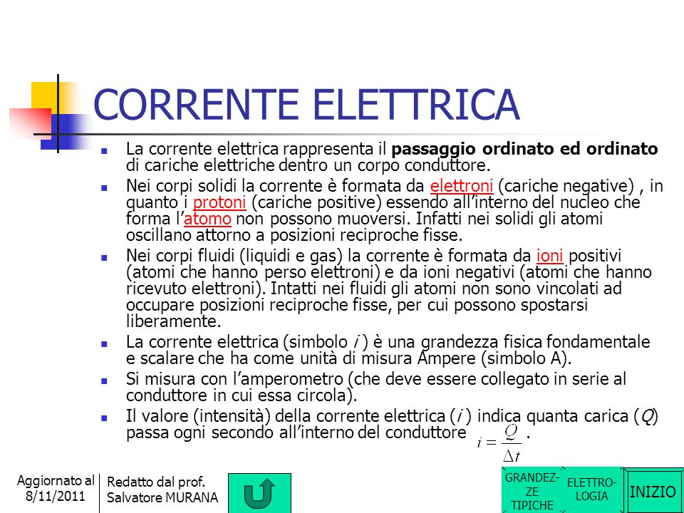 CORRENTE ELETTRICA La corrente elettrica rappresenta il passaggio ordinato ed ordinato di cariche elettriche dentro un corpo conduttore.