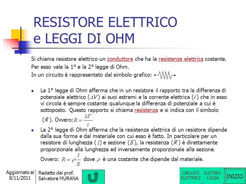 RESISTORE ELETTRICO e LEGGI DI OHM