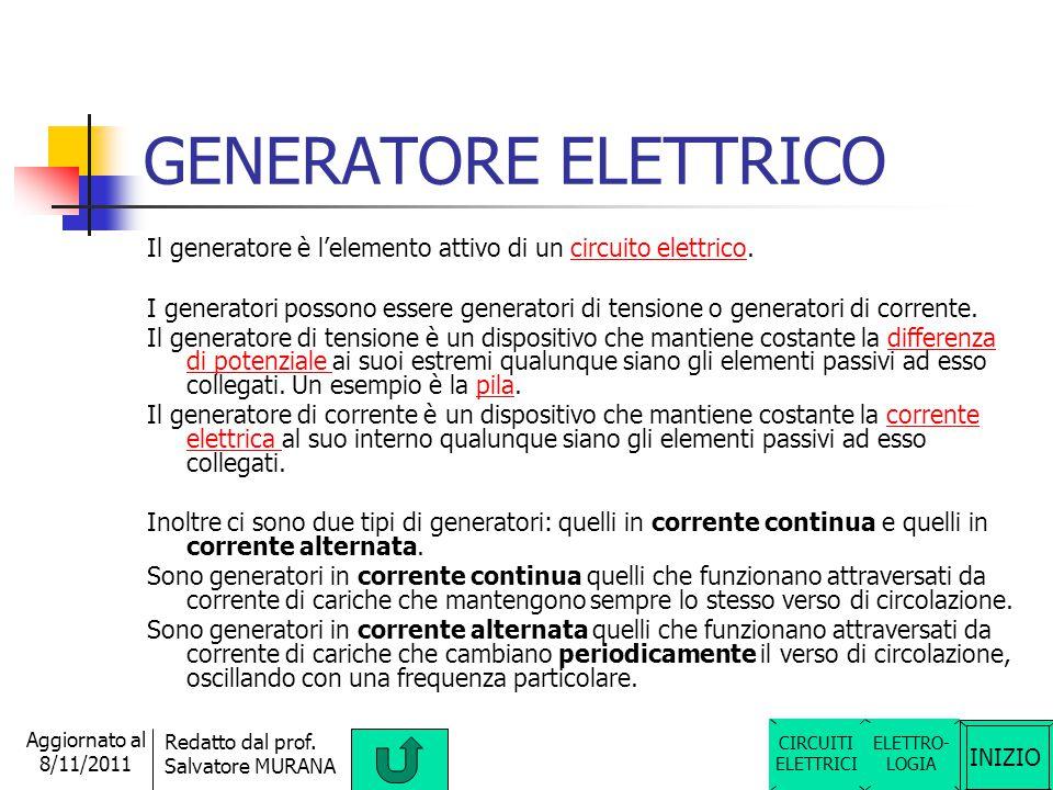 GENERATORE ELETTRICO Il generatore è l'elemento attivo di un circuito elettrico.