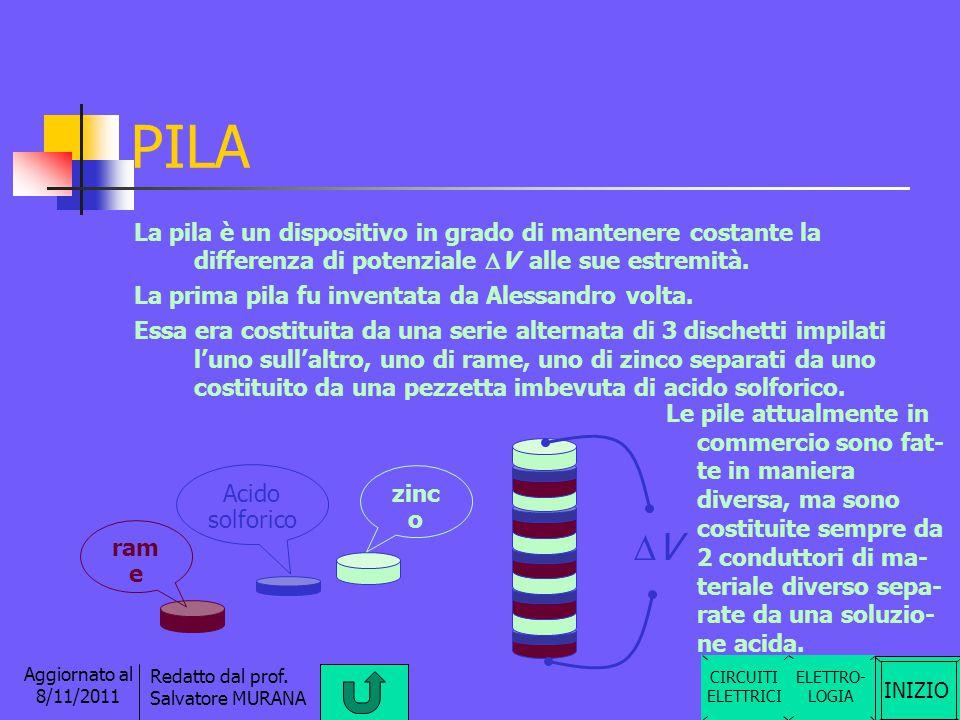 PILA La pila è un dispositivo in grado di mantenere costante la differenza di potenziale DV alle sue estremità.
