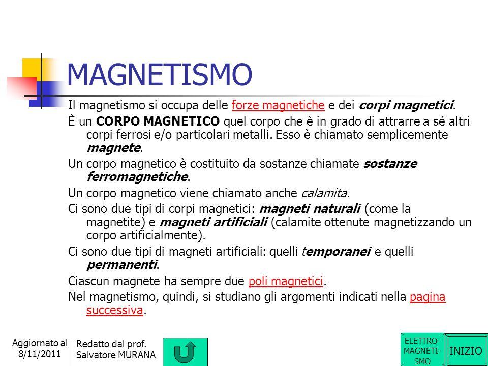 MAGNETISMO Il magnetismo si occupa delle forze magnetiche e dei corpi magnetici.