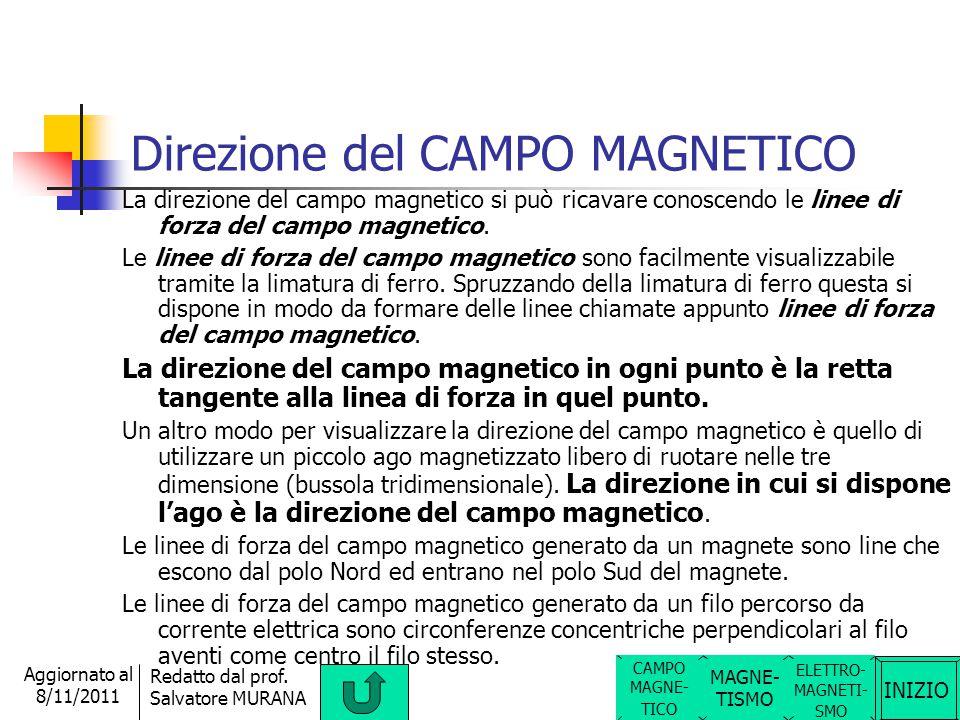 Direzione del CAMPO MAGNETICO