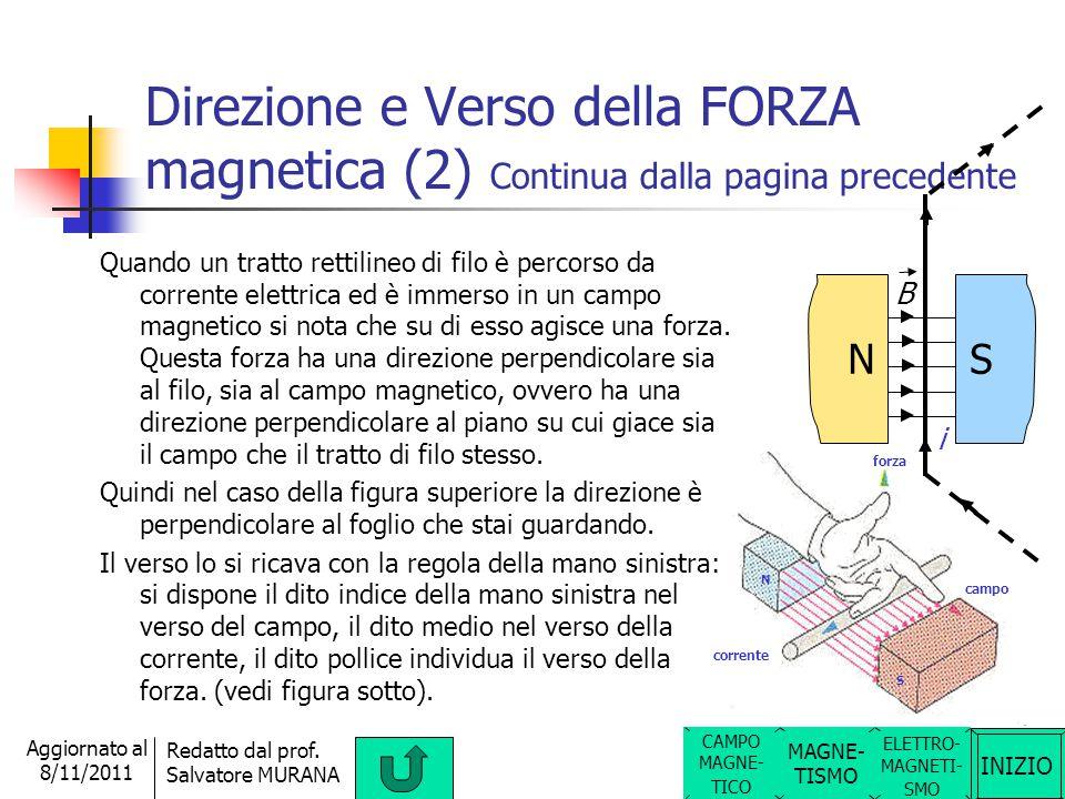 Direzione e Verso della FORZA magnetica (2) Continua dalla pagina precedente