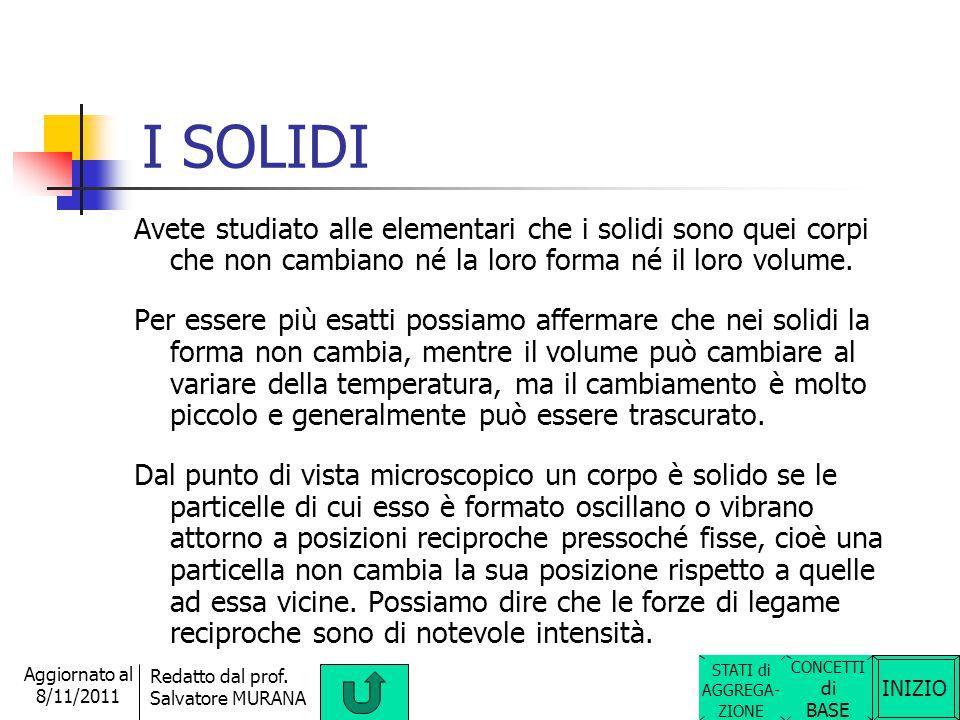 I SOLIDI Avete studiato alle elementari che i solidi sono quei corpi che non cambiano né la loro forma né il loro volume.