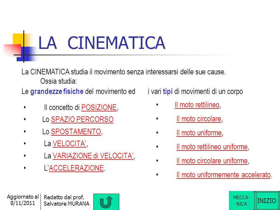 LA CINEMATICA La CINEMATICA studia il movimento senza interessarsi delle sue cause. Ossia studia: