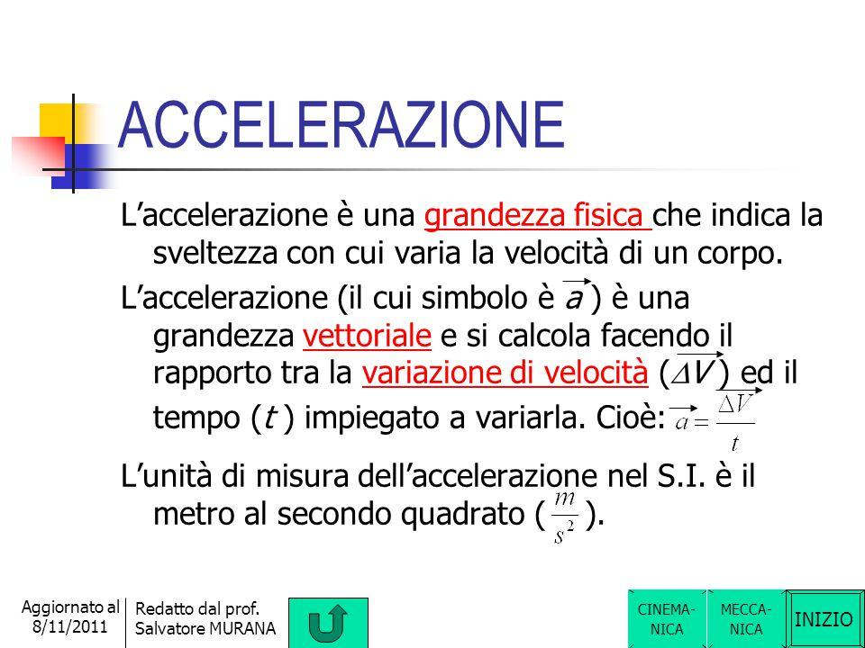 ACCELERAZIONE L'accelerazione è una grandezza fisica che indica la sveltezza con cui varia la velocità di un corpo.