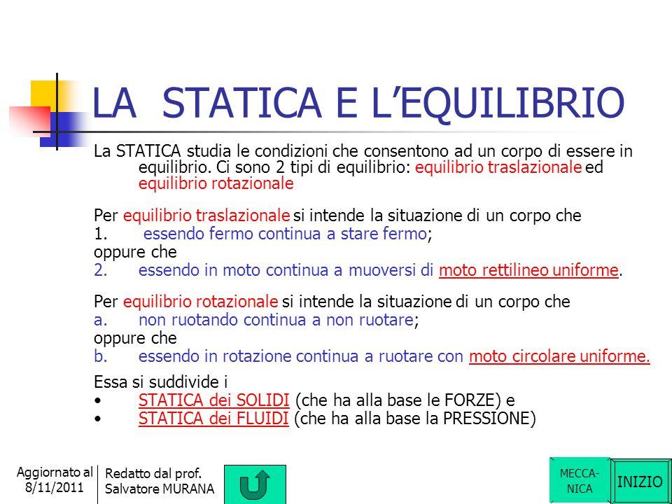 LA STATICA E L'EQUILIBRIO