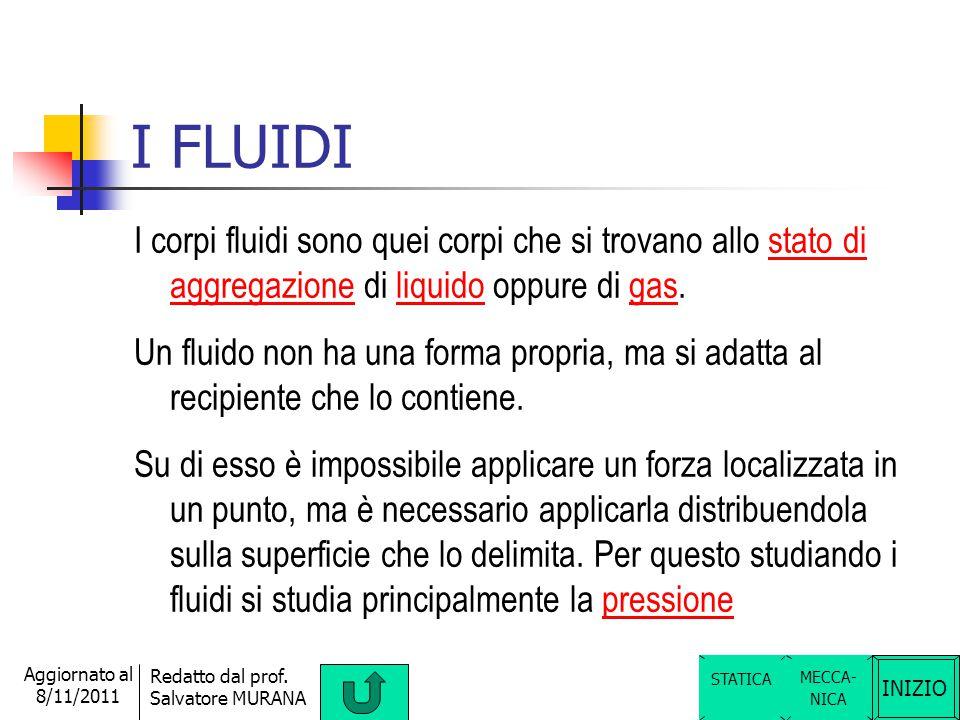 I FLUIDI I corpi fluidi sono quei corpi che si trovano allo stato di aggregazione di liquido oppure di gas.