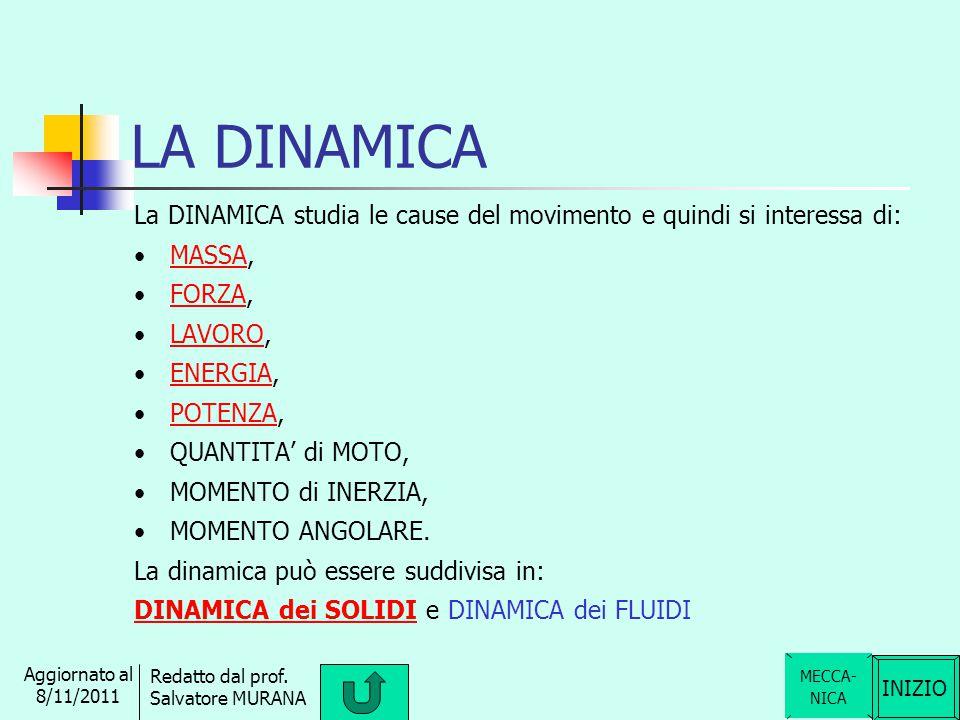 LA DINAMICA La DINAMICA studia le cause del movimento e quindi si interessa di: MASSA, FORZA, LAVORO,