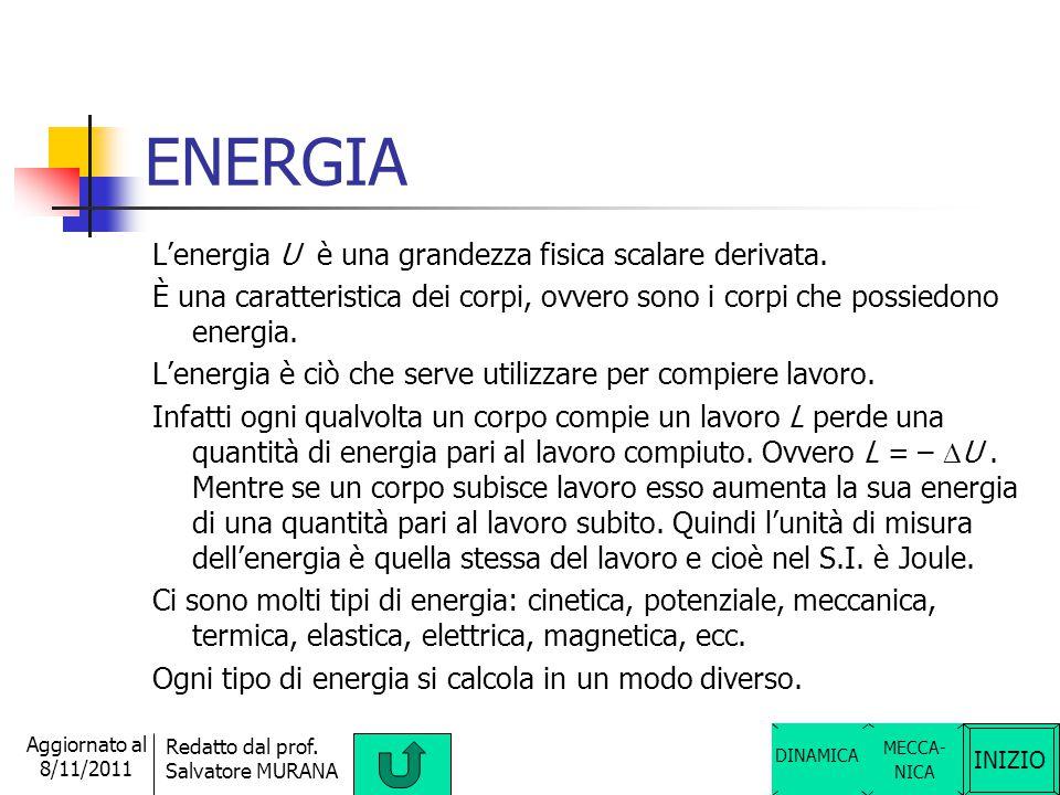 ENERGIA L'energia U è una grandezza fisica scalare derivata.