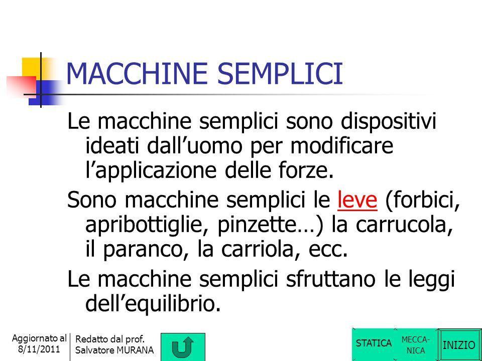 MACCHINE SEMPLICI Le macchine semplici sono dispositivi ideati dall'uomo per modificare l'applicazione delle forze.