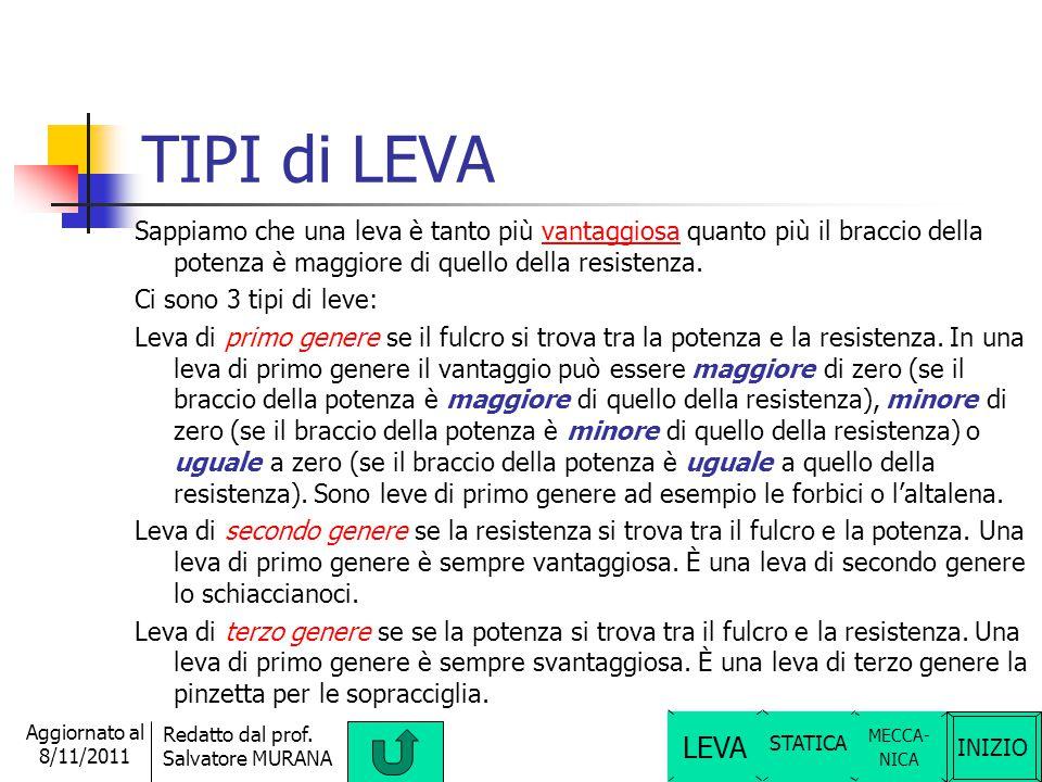 TIPI di LEVA Sappiamo che una leva è tanto più vantaggiosa quanto più il braccio della potenza è maggiore di quello della resistenza.