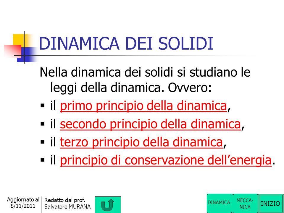 DINAMICA DEI SOLIDI Nella dinamica dei solidi si studiano le leggi della dinamica. Ovvero: il primo principio della dinamica,