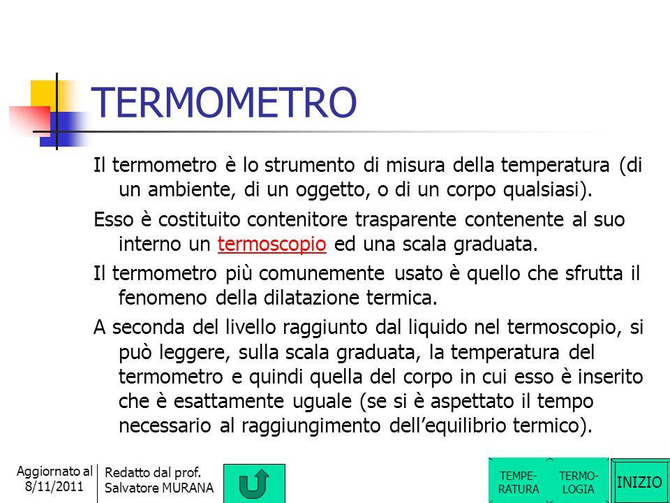 TERMOMETRO Il termometro è lo strumento di misura della temperatura (di un ambiente, di un oggetto, o di un corpo qualsiasi).