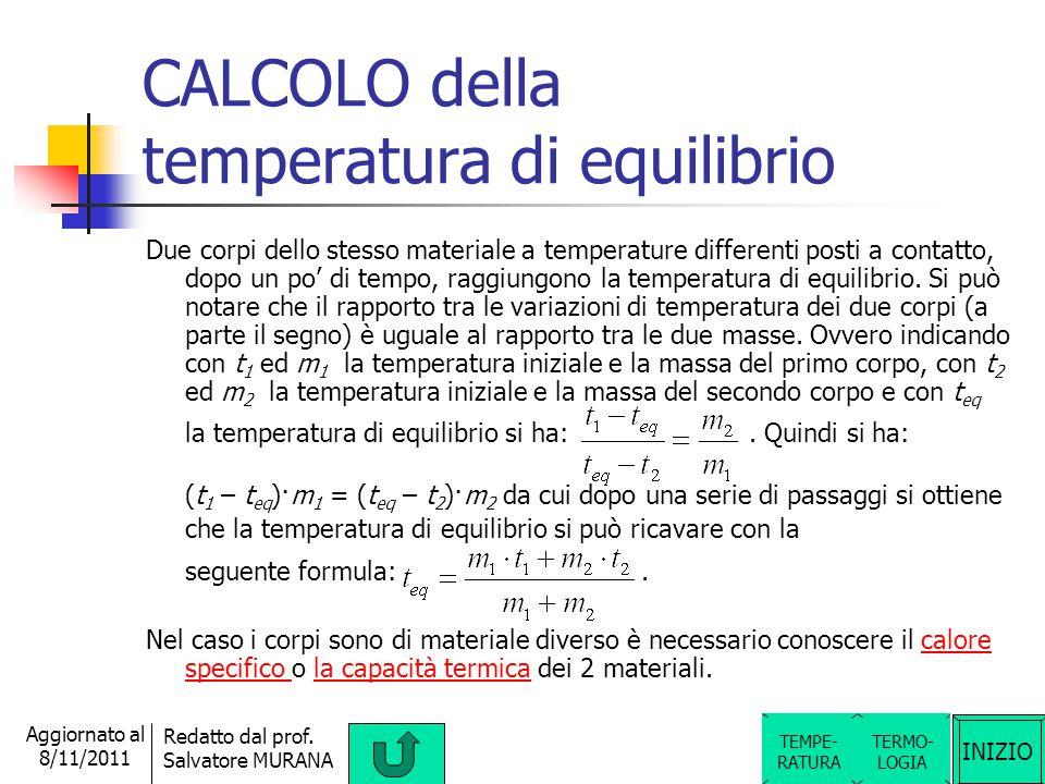 CALCOLO della temperatura di equilibrio