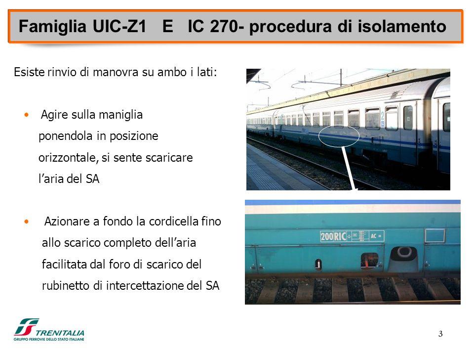 Famiglia UIC-Z1 E IC 270- procedura di isolamento