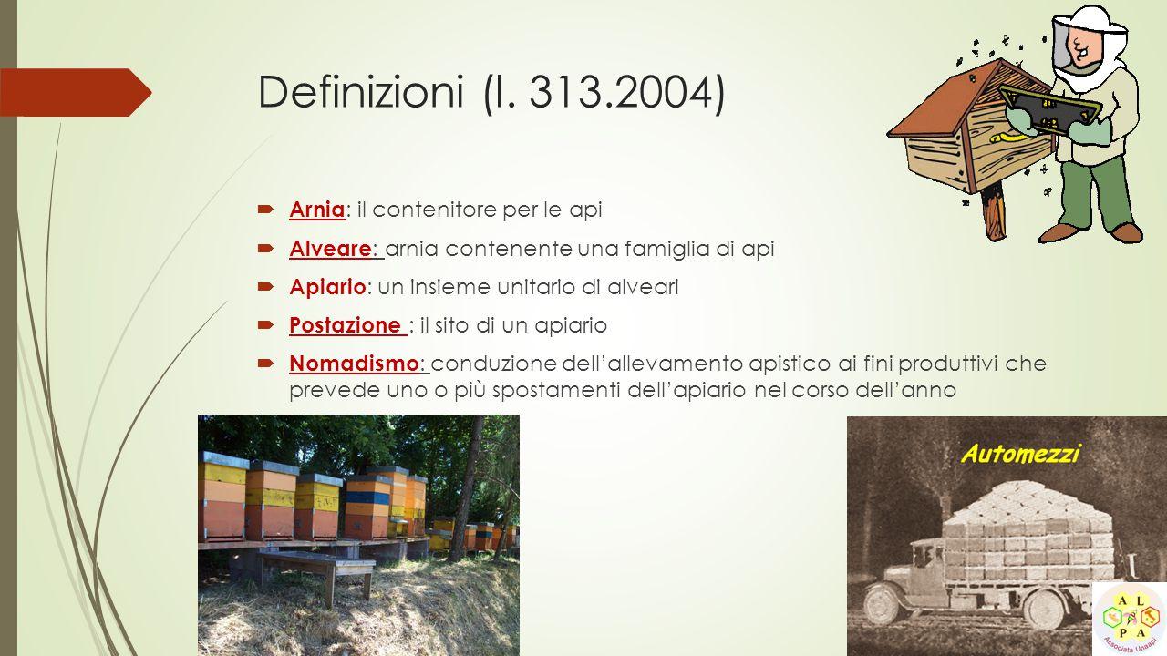 Definizioni (l. 313.2004) Arnia: il contenitore per le api