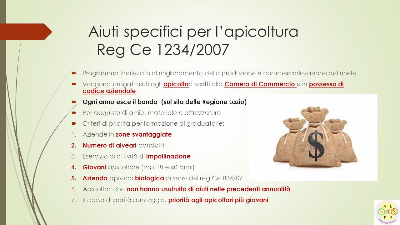 Aiuti specifici per l'apicoltura Reg Ce 1234/2007
