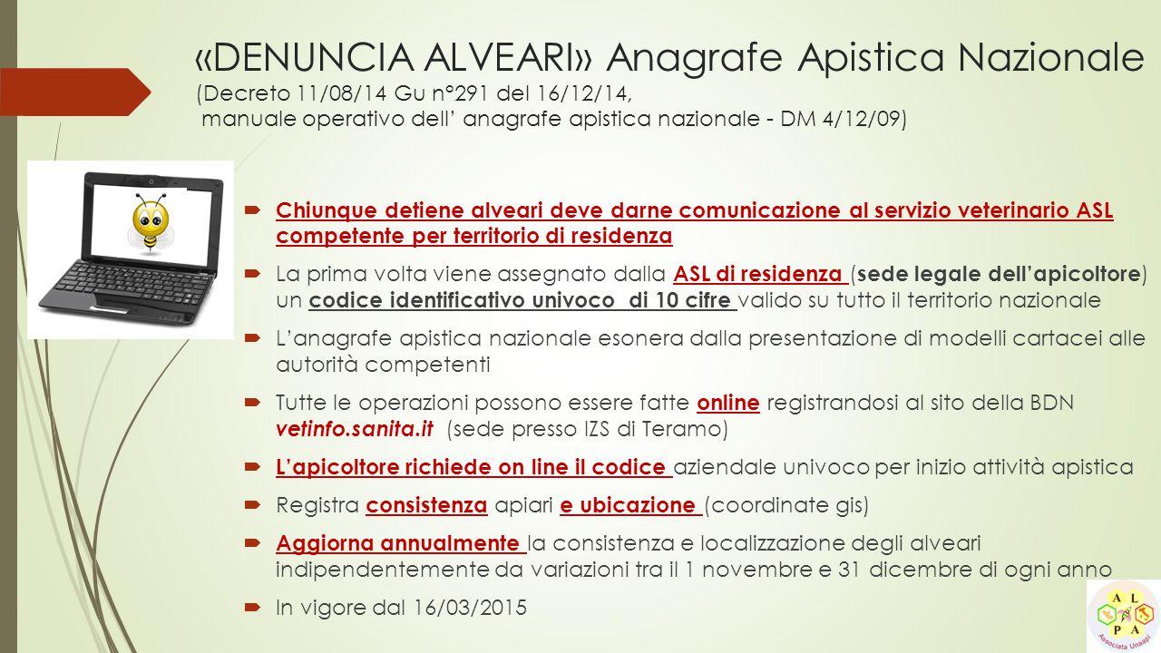 «DENUNCIA ALVEARI» Anagrafe Apistica Nazionale (Decreto 11/08/14 Gu n°291 del 16/12/14, manuale operativo dell' anagrafe apistica nazionale - DM 4/12/09)