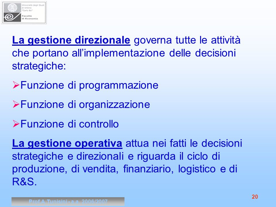 Funzione di programmazione Funzione di organizzazione