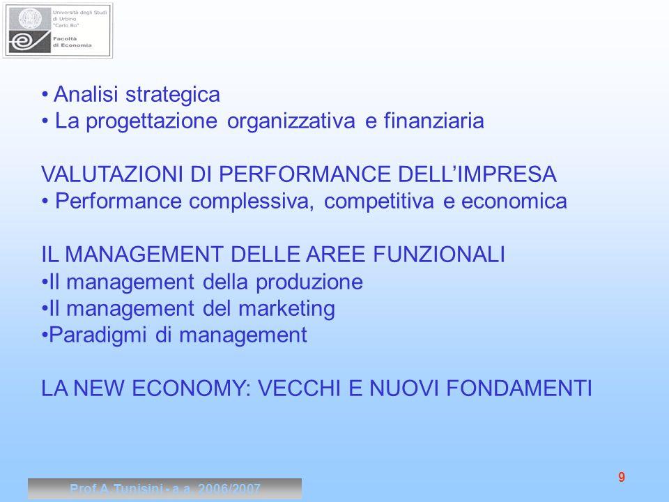 La progettazione organizzativa e finanziaria