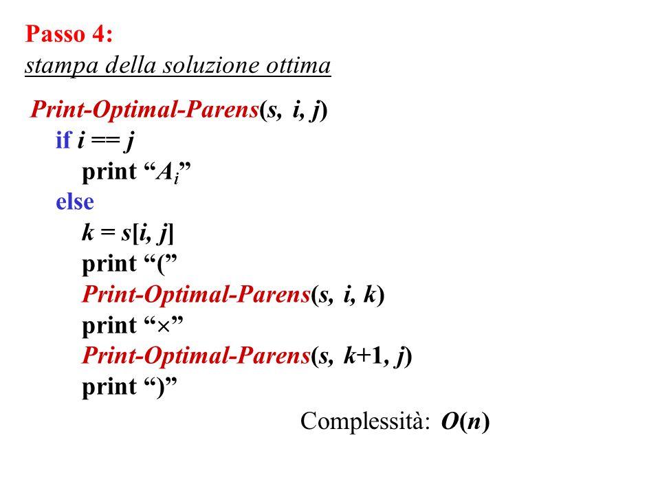 Passo 4: stampa della soluzione ottima. Print-Optimal-Parens(s, i, j) if i == j. print Ai else.