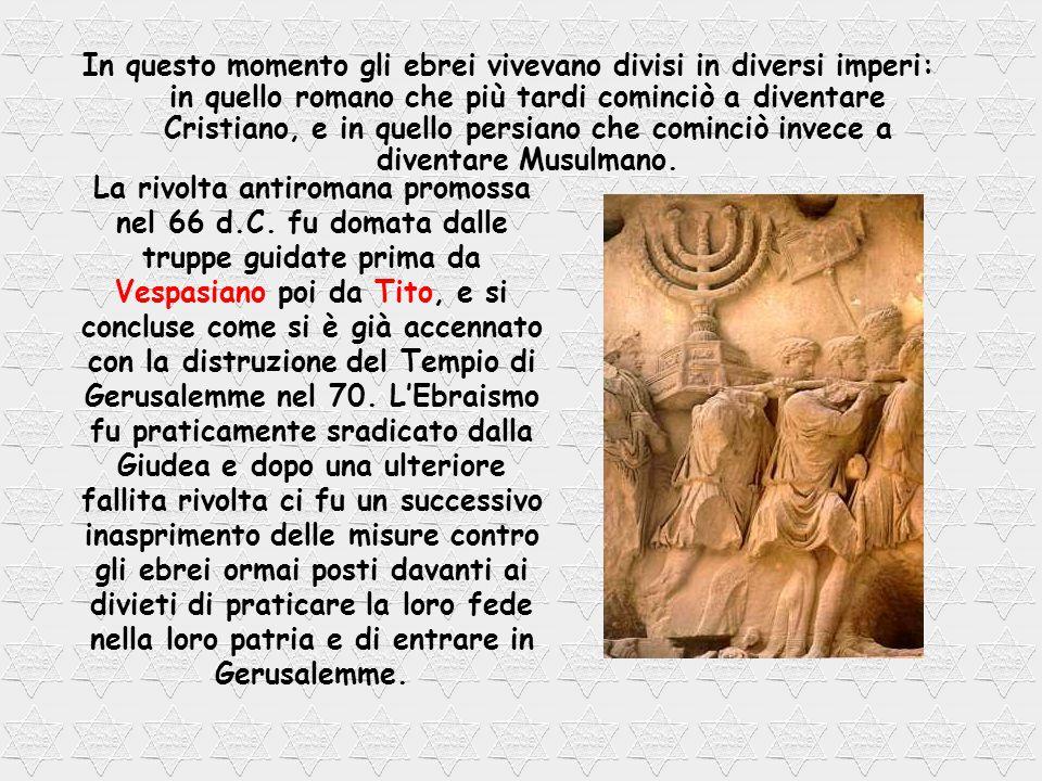 In questo momento gli ebrei vivevano divisi in diversi imperi: in quello romano che più tardi cominciò a diventare Cristiano, e in quello persiano che cominciò invece a diventare Musulmano.