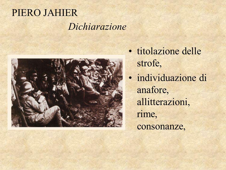 PIERO JAHIER Dichiarazione.