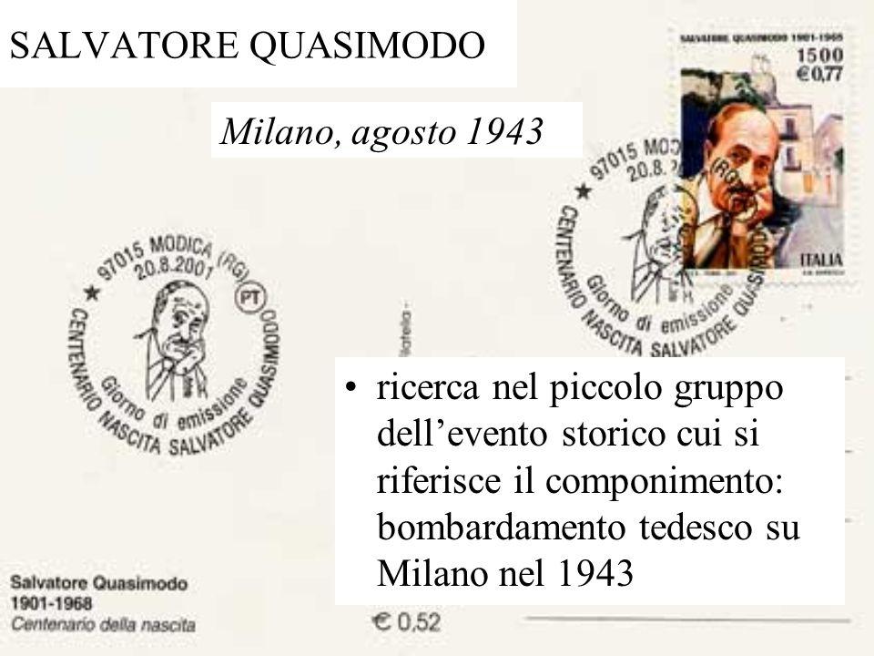 SALVATORE QUASIMODO Milano, agosto 1943.
