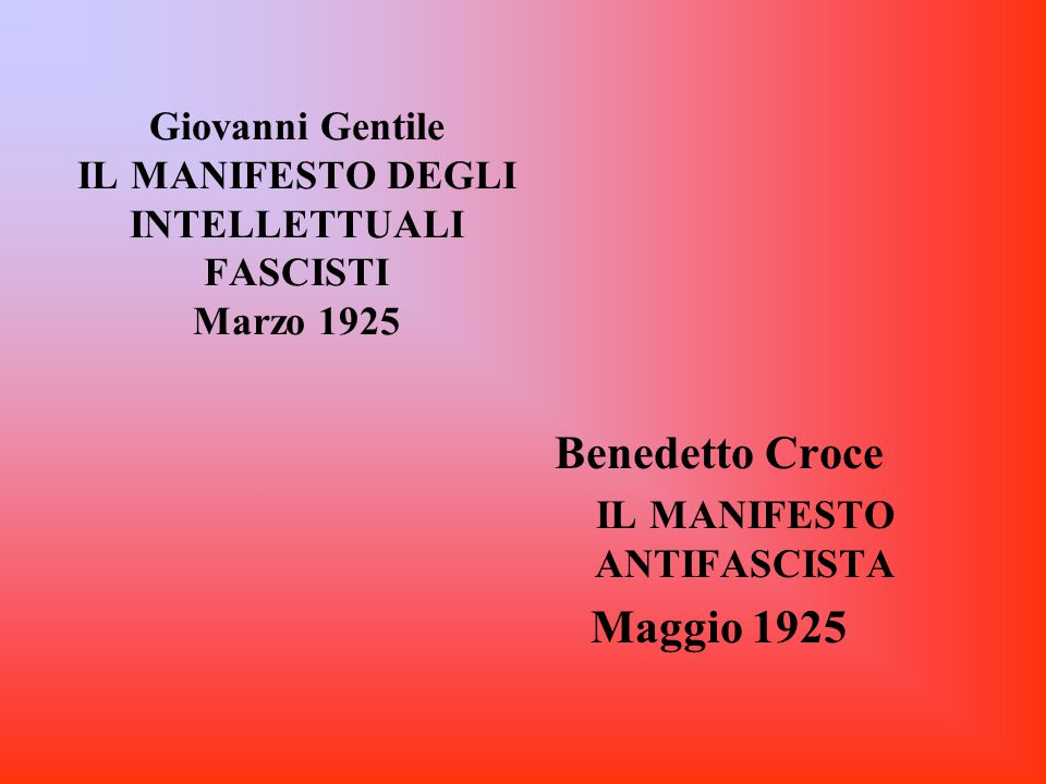 Giovanni Gentile IL MANIFESTO DEGLI INTELLETTUALI FASCISTI Marzo 1925