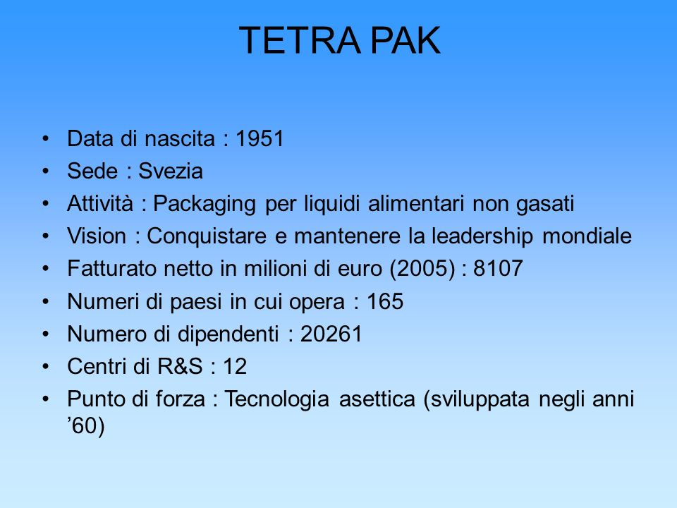 TETRA PAK Data di nascita : 1951 Sede : Svezia