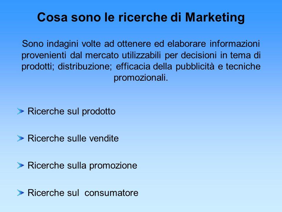 Cosa sono le ricerche di Marketing Sono indagini volte ad ottenere ed elaborare informazioni provenienti dal mercato utilizzabili per decisioni in tema di prodotti; distribuzione; efficacia della pubblicità e tecniche promozionali.