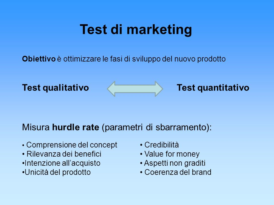 Test di marketing Test qualitativo Test quantitativo