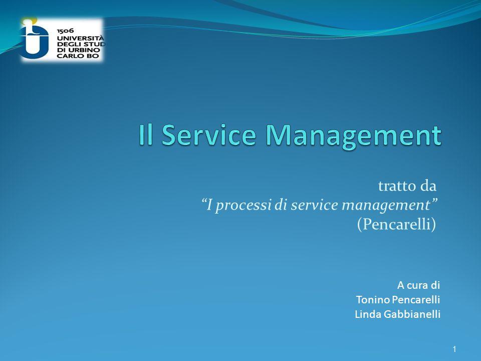 tratto da I processi di service management (Pencarelli)