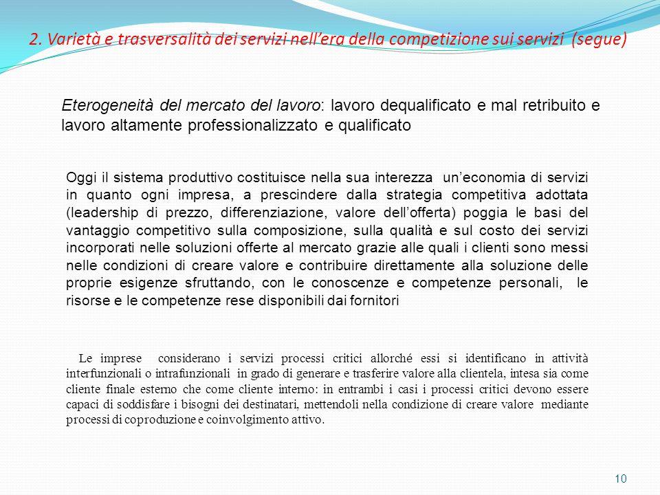 2. Varietà e trasversalità dei servizi nell'era della competizione sui servizi (segue)