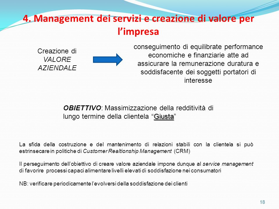 4. Management dei servizi e creazione di valore per l'impresa