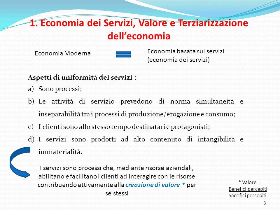 1. Economia dei Servizi, Valore e Terziarizzazione dell'economia