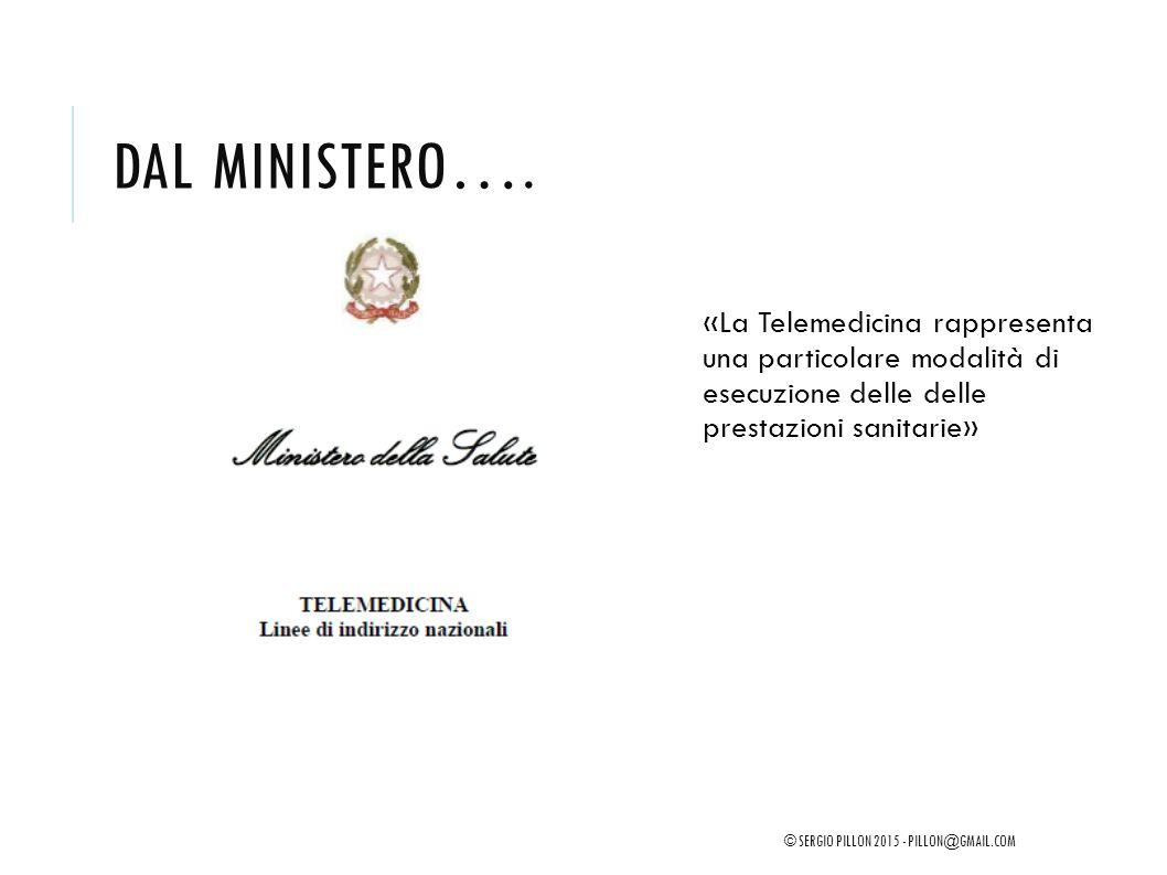Dal Ministero…. «La Telemedicina rappresenta una particolare modalità di esecuzione delle delle prestazioni sanitarie»