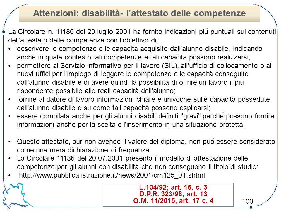 Attenzioni: disabilità- l'attestato delle competenze