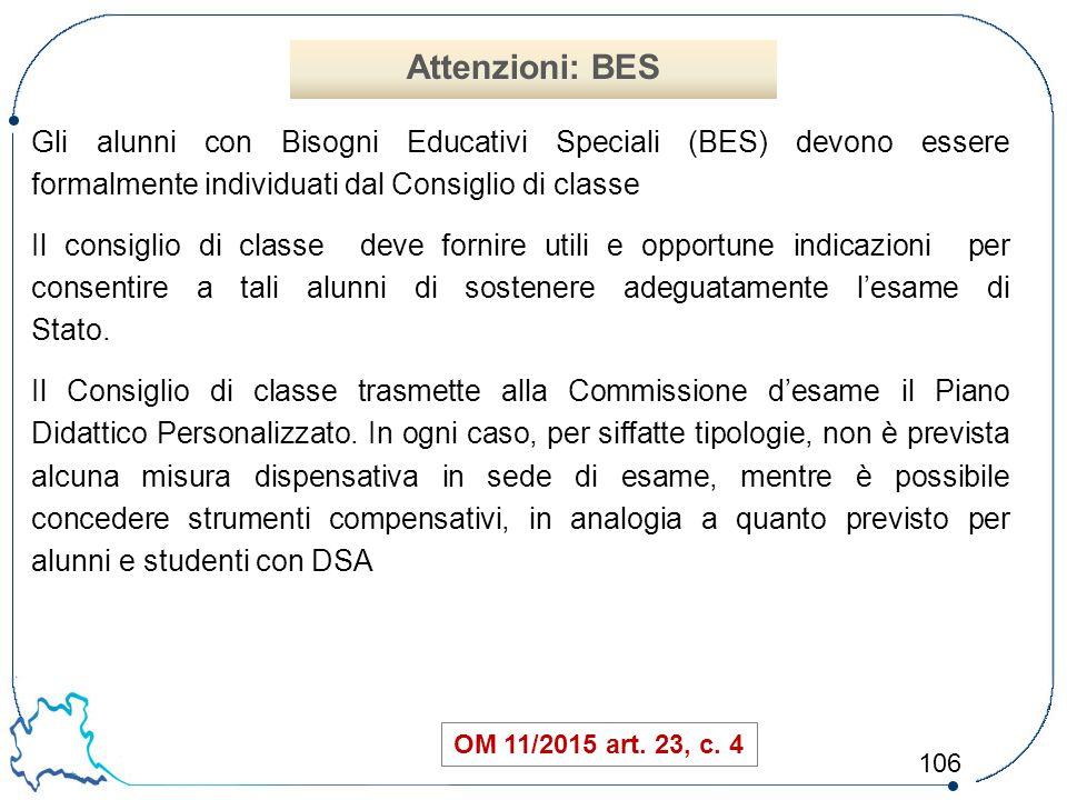 Attenzioni: BES Gli alunni con Bisogni Educativi Speciali (BES) devono essere formalmente individuati dal Consiglio di classe.