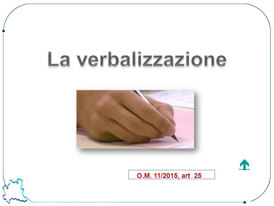 La verbalizzazione  O.M. 11/2015, art 25