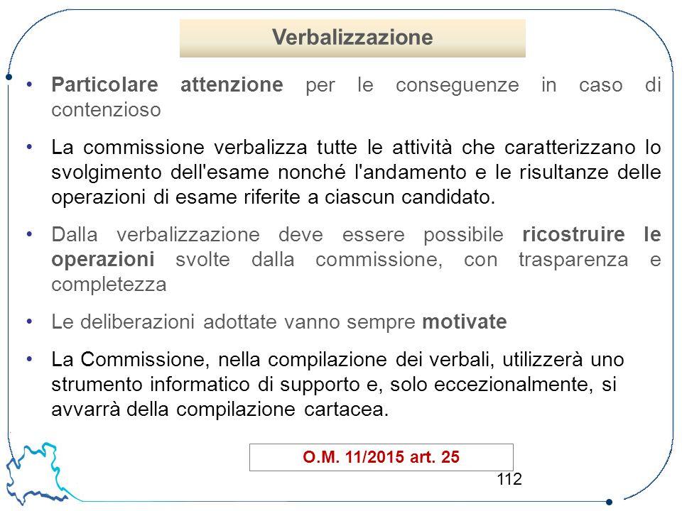 Verbalizzazione Particolare attenzione per le conseguenze in caso di contenzioso.