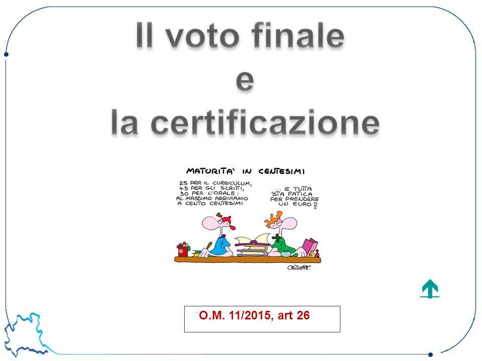Il voto finale e la certificazione