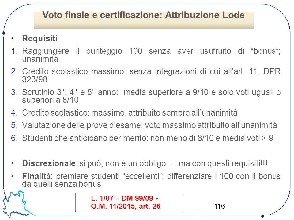 Voto finale e certificazione: Attribuzione Lode